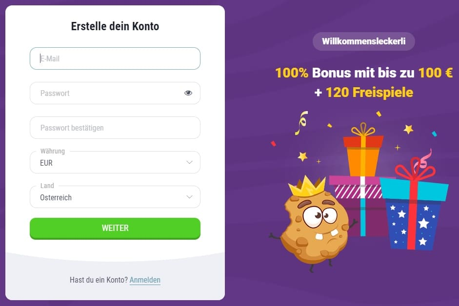 Cookie Casino Registrierung